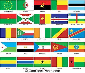 1, 25, drapeaux, africaine