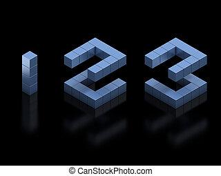 1, 3, 2, números, fonte, cubical, 3d