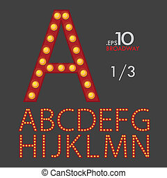 1-3 Set of Broadway Vector Alphabet A-N Editable