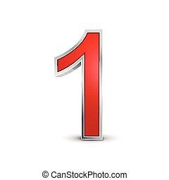 1, 3d, numero, rosso, metallico