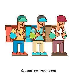 1., 9 月, schoolbag., 男生徒, 背中, 大きい, school., 男の子, set., イラスト