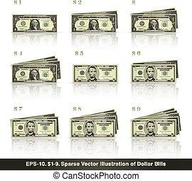 1, 9, dolary