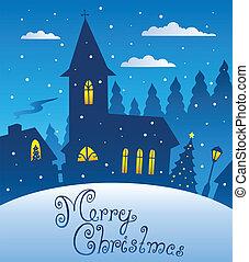 1, abend, weihnachten, fröhlich, szene