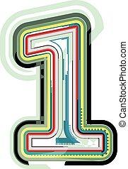 1, abstract, getal, kleurrijke