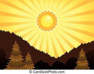 1, abstrakcyjny, słoneczny, temat, krajobraz