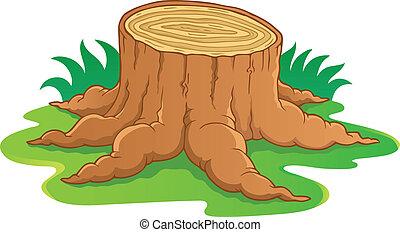 1, albero, immagine, radice, tema