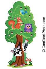 1, albero, tema, vario, animali