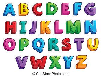 1, alfabet, beeld, thema