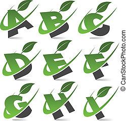 1, alfabet, set, groene, swoosh