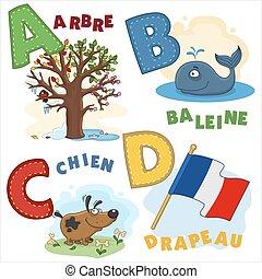 1, alfabeto, parte, francés