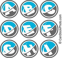 1, alfabeto, swoosh, jogo, ícones
