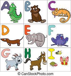 1, alphabet, animaux, dessin animé