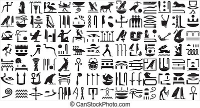 1, ancien, ensemble, hiéroglyphes, égyptien
