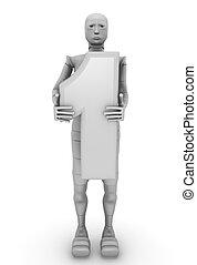 1, androïde, nombre, femme