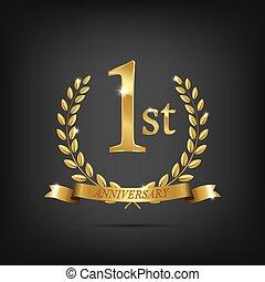 1 anniversary golden symbol. Golden laurel wreaths with ribbons and first anniversary year symbol on dark background. Vector anniversary design element.