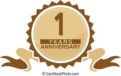 1, anos, fita, aniversário