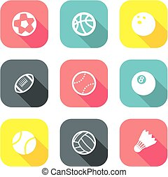 1, appartamento, palla, disegno, icone