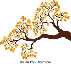1, arancia parte, ramo albero