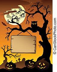 1, arbre, scène halloween