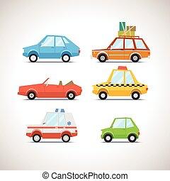 1, autó, állhatatos, lakás, ikon