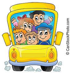 1, autobus, école, thème, image
