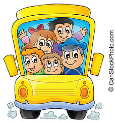 1, autocarro, escola, tema, imagem