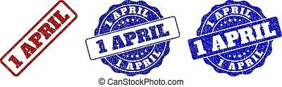 1, avril, gratté, timbre, cachets