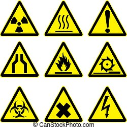 1, avvertimento, set, segni
