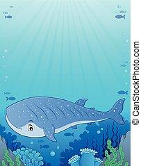 1, baleia, imagem, tema, tubarão