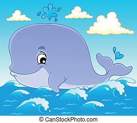 1, baleine, thème, image