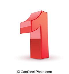1, baluginante, numero, rosso, 3d