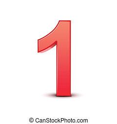 1, baluginante, numero, rosso