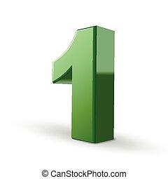 1, baluginante, verde, numero, 3d