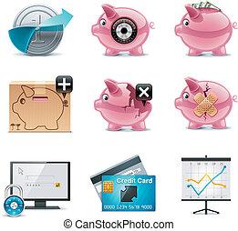 1, bancario, parte, icons., vettore