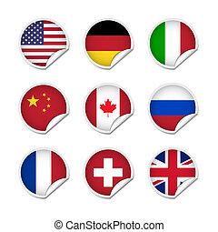 1, bandiera, set, adesivi