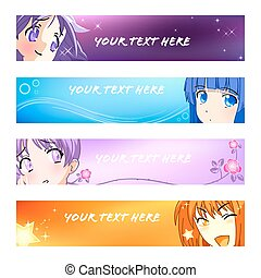 1, banieren, set, anime, |