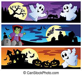 1, bannières, ensemble, halloween