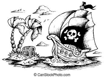 1, barco, dibujo, pirata