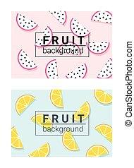 1, barwny, tło, owoce