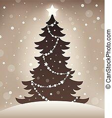 1, baum, stilisiert, silhouette, weihnachten