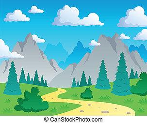1, bjerg, tema, landskab