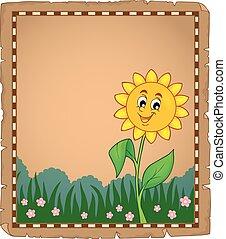 1, bloem, perkament, vrolijke