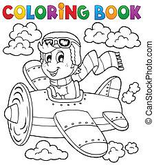 1, boek, thema, kleuren, vliegtuig