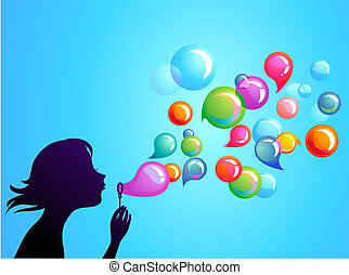 1, bolle, soffiando, -, sapone