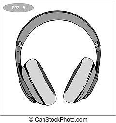 1, bosquejo, auriculares, hand-drawn, vector