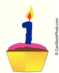 1, bougie, nombre, petit gâteau