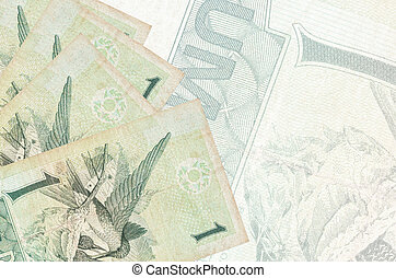 1 Brazilian real bills lies in stack on background of big semi-transparent banknote. Abstract business background