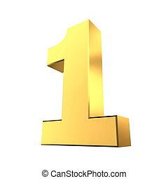 1, brillante, -, número, oro