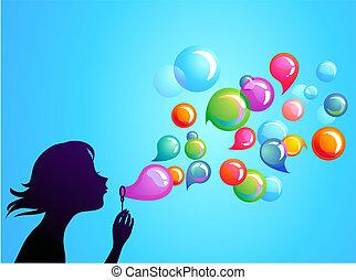 1, bubblar, blåsning, -, tvål