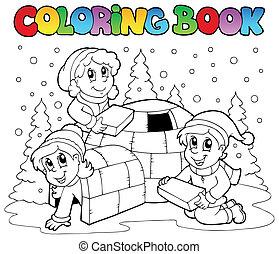 1, buch, färbung, szene, winter